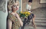Girl, flowers, bike, retro, dress, tulips, hairstyles