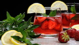 Cold Glass of Strawberry Lemonade