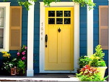 Blue house, yellow door