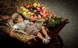 Boy, stroller, fruit, sleeping