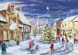 Colours-colorful-Christmas Village-painting-marcello-corti-Raven