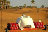 Sand, palm trees, romance, candles, exotic, dinner, Morocco, rom