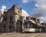 Tram of gravensteen castle , Gent, Belgien