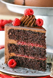 Decadent chocolate raspberry cake
