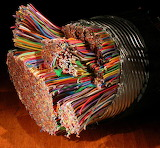 Bundle of copper telephone wires