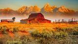 Moulton-Barn-At-Sunrise-by Julie Lubick, Grand Teton National Pa