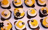 #Elegant Black White and Yellow Cupcakes