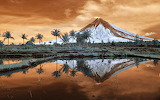 Landscape nature Mount Mayon Philippines reflection volcano