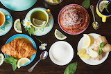 Tea Croissant Pastry Lemons Camomiles Cup Plate