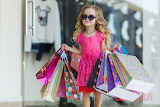 Little girl, pink dress, bags, shopping