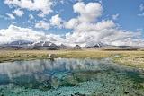 Tajikistan, pond, stream, water, heathland, mountains, snow, sky