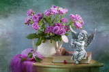 Roses, bouquet, angel, shell, book, figurine, cherries, flowers