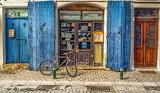 blue shop door