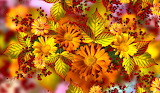 Flowers, Leaves, fruit, Rowan, abstract, texture