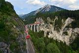 Train on the Landwasser viaduct Switzerland