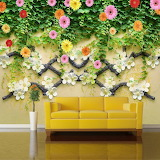 Yellow couch under wall of flowers