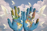 World, painted hands, doves, symbol of peace