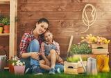 Girl, woman, child, Grass, Tulips, Wall, gardening