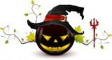 Holidays Halloween Pumpkin Hat Trident 3D Graphics wallpapers