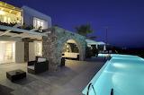 Luxury Mykonos Villa, pool and terrace at night