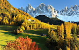 Autumn Dolomite Mountains Val Gardena Italy