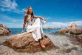 Girl, coast, white dress, horizon,sitting, rock, stone, sea, riv