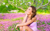 Girl, flowers, smile, tree, sitting
