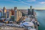 Detroit winter skyline