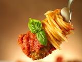 ^ Spaghetti meatball basil on a fork