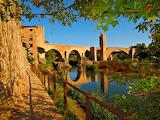Sunset Bridge of Catalunya Besalu Spain