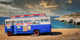 Old bus converted into beach bar