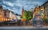 Street, house, church, lights, Belgium, bridge, Bruges, trees, l