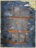 Ottoman galleys in battle in the Black Sea; manuscript, c. 1636