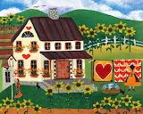 Country quilt heart sunflower Cheryl Bartley