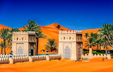 Towers, sand, sky, sun, dunes, palm trees, Abu Dhabi