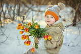 little boy with tulips