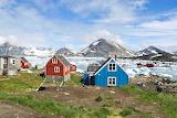 Colored houses, village, sea, ice, ship, Greenland