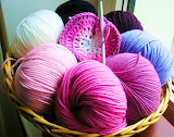 Basket of Yarn and Granny Square