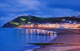 Sea, night, lights, shore, mountain, home, promenade, Wales