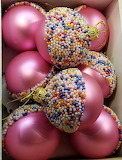 pink candy ornaments