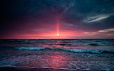 pink sunset blue beach