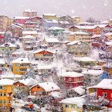 colorful snowy town