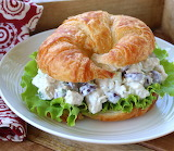^ Chicken Salad with Grapes and Pecans on roll