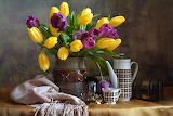 Flowers, scarf, kettle, cup, tulips, vase, still life, chest