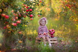 girl, apple tree