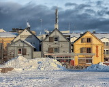Vintage wooden houses in winter...