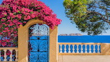 Pretty Mediterranean sea view and flower covered gate