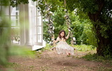 Swing, tree, dress, girl, daydreaming, cottage, house, nature, f