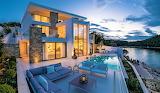 Luxury modern white seaview villa and pool in Croatia