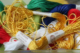 Skeins of embroidery thread